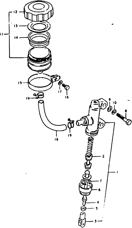 mick hone gs1000 1978 rear master cylinder